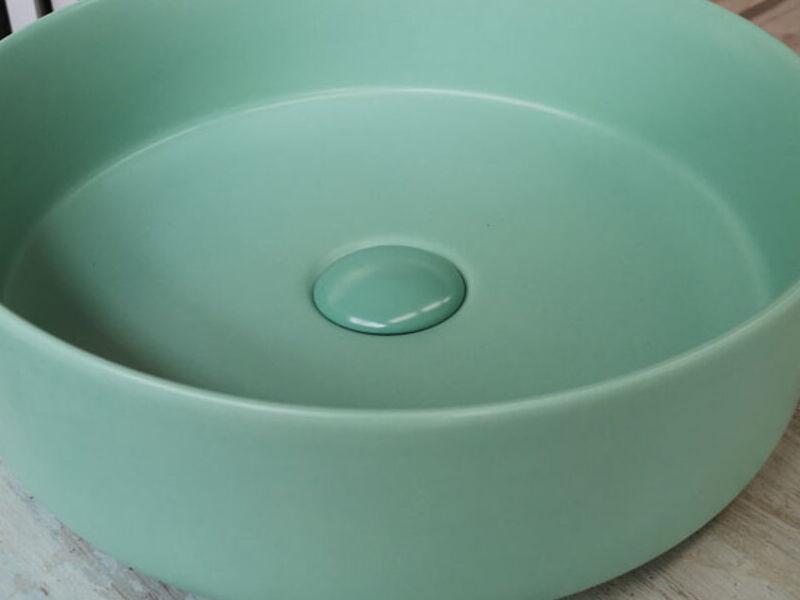 Lavamanos Redondo Sobre Cubierta Green Mate
