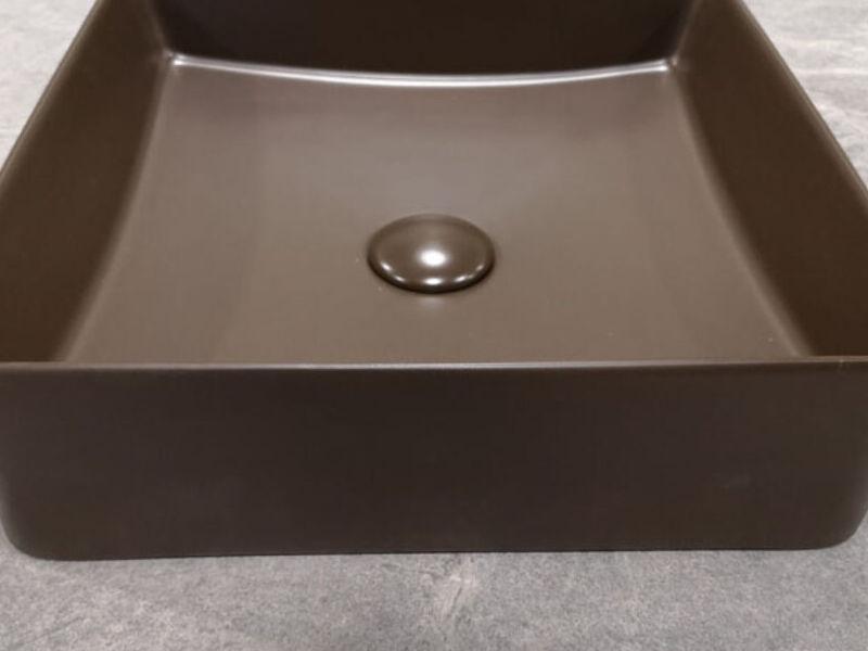 Lavamanos Cuadrado Sobre Cubierta Brown Mate