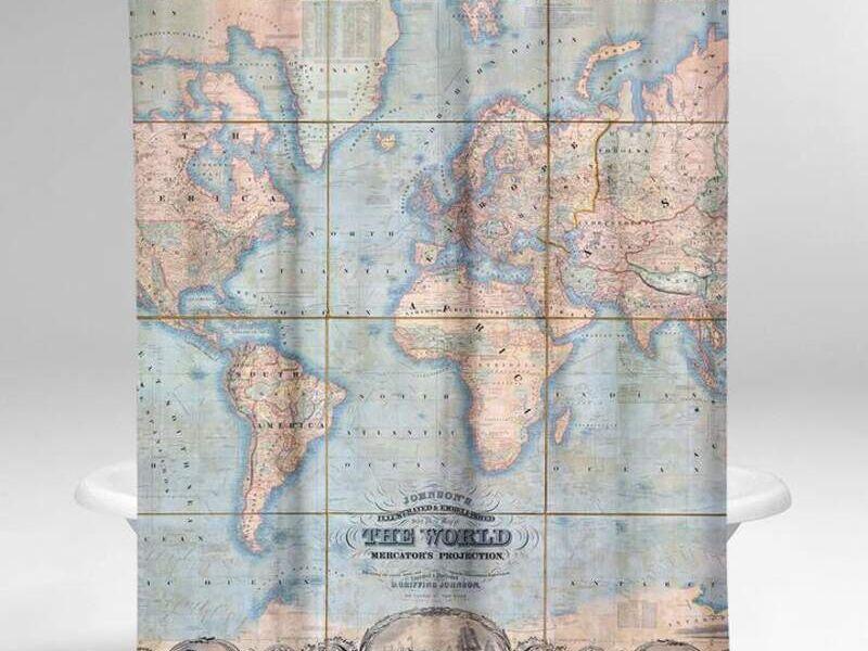 Cortina de Baño Mapa Mundi de 1847
