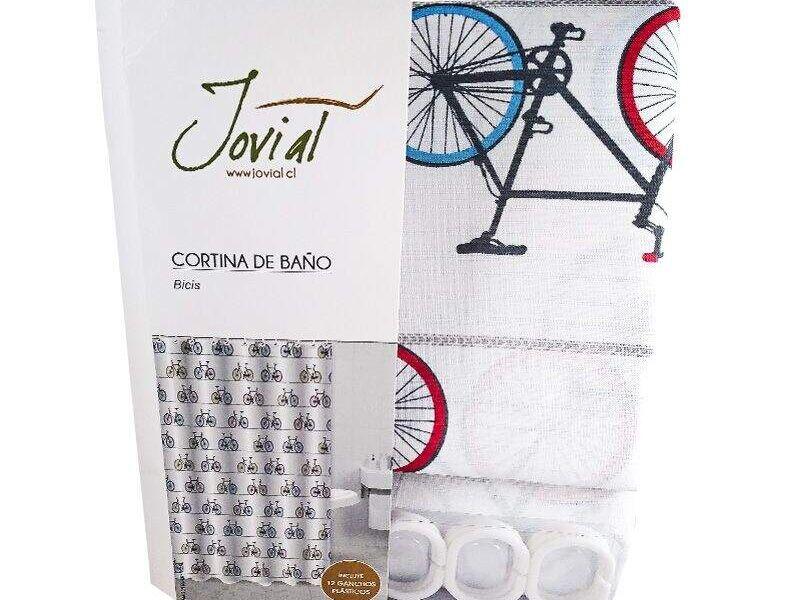 Cortina Estampada + Ganchos Diseño Bicis
