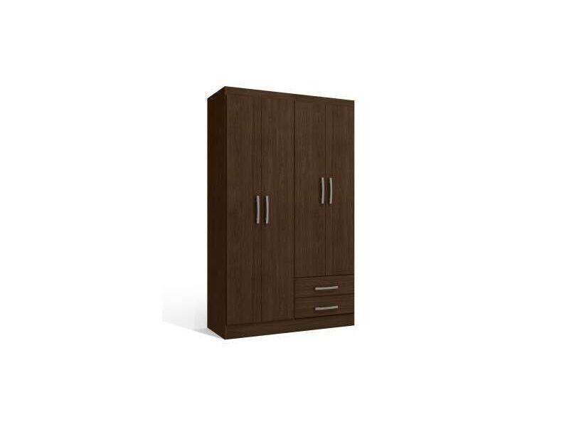 Ropero 4 puertas y 2 cajones color marrón.