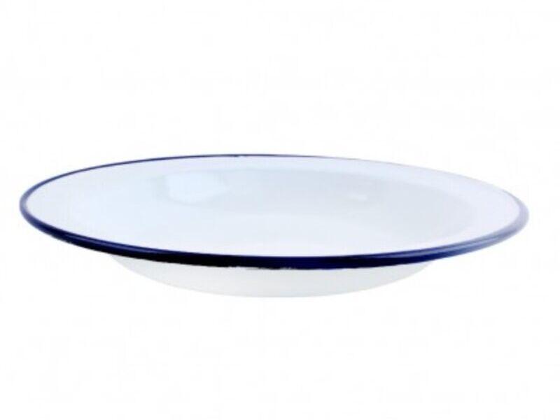 Plato Bajo Acero Esmaltado Blanco/Azul